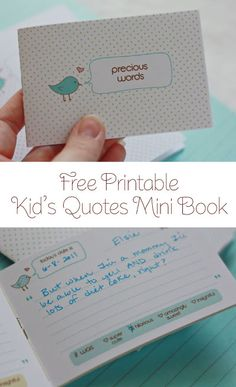 Free PRINTABLE Kid's Quotes Mini Book