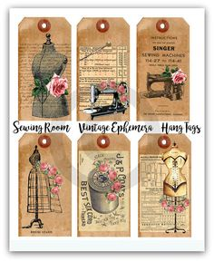 12xSewing Room Vintage paper ephemera,Scrapbook Card Making,Party Gift Favor Tag in Crafts, Scrapbooking & Paper Crafts, Paper Crafts | eBay!