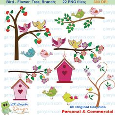 Bird clipart Valentine bird clip art Birdhouse branch by garrylain, $5.00