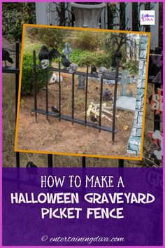 I love this DIY Halloween cemetery picket fence. It's cheap and easy to make, and it looks spooky around my Halloween graveyard. Great outdoor Halloween decor! Halloween Fence, Halloween Graveyard, Halloween Haunted Houses, Outdoor Halloween, Halloween Diy, Halloween Stuff, Halloween Costumes, Haunted House Decorations, Spooky Halloween Decorations