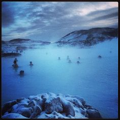 It was -19 today so we thought we would go for a swim. Outside. In the snow! #bluelagoon iceland