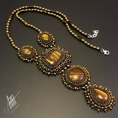 """Bead embroidery,beadwork, beaded necklace  'Mathea"""" with tiger eye and hematite from CLASSIC collection on Etsy, $150.00"""