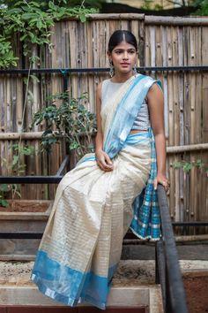 Cream Mangalagiri silk cotton saree with silver checks light blue and silver border Indian Dresses For Girls, Indian Outfits, Girls Dresses, Indian Attire, Indian Wear, Cotton Saree Designs, Silk Cotton Sarees, Blouse Designs, House Of Blouse
