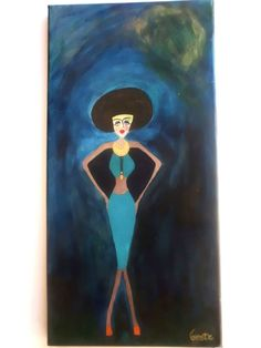 Figurative art Acrylic art orginal painting female by serifece
