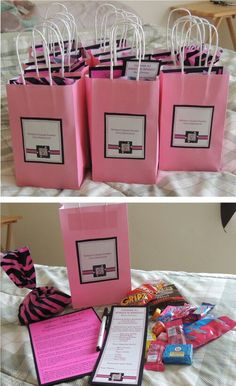 Goodie bags had some snacks, an order form for each guest to check off what they wanted for dinner, a scavenger hunt card & a pen. Scavenger hunt list can be found at this link: Find more Sweet 16 ideas & instructions on how I made these at https://ashlynnssweet16.shutterfly.com/