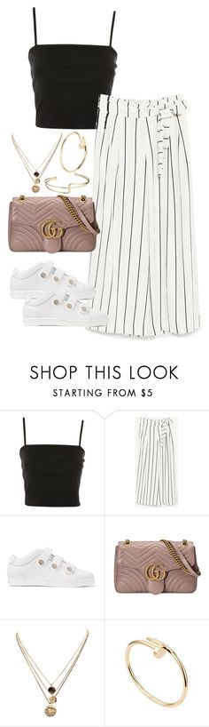 """Untitled #4505"" by theeuropeancloset ❤ liked on Polyvore featuring Topshop, Jimmy Choo, Gucci, LowLuv and Cartier"