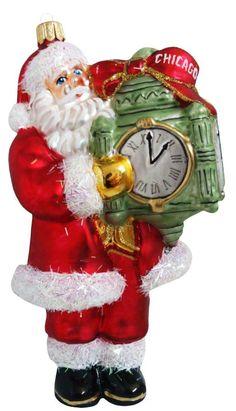 Santa Claus with Chicago Clock Christmas Ornament - ShopGlad - Where ONLINE SHOPPING is a PLEASURE #ShopGlad #Christmas