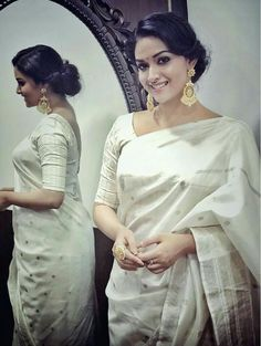Gorgeous Keerthy suresh in white Saree Photoshoot Indian Dresses, Indian Outfits, Indian Clothes, Kerala Saree, Indian Sarees, Silk Sarees, White Saree, Saree Photoshoot, Most Beautiful Indian Actress