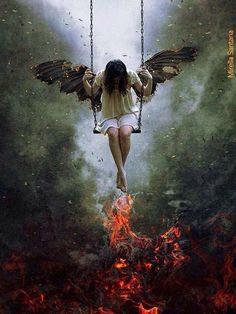 No Salvation by Mirella Santana. Fantasy Kunst, Dark Fantasy Art, Image Triste, Dark Art Photography, Angel Artwork, Angel Drawing, Angel Pictures, Goth Art, Sad Art