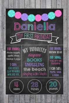 First Birthday Chalkboard Poster // Purple Pink & by MsThirdGrade