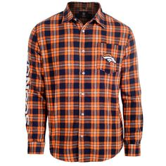 Men's Denver Broncos NFL Klew Orange/Navy Wordmark Flannel Button-Up Long Sleeve T-Shirt
