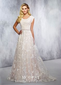 TR21718 - Lace over tulle and chiffon soft A-line gown with scalloped lace cap sleeves, scalloped scooped neckline, covered buttons along the back, lace hem with chapel length train. Shown with BELT11731, sold separately.