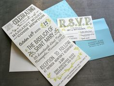 These are some beautiful wedding invitations designed by Anchalee Chambundabongse just letterpress printed here at Studio On Fire.  The variety of the hand drawn type in this invite is super well done. Mixing up lettering like this looks deceptively simple.