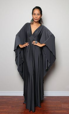Grey Maxi Dress  Kaftan Kimono Butterfly Dress Elegant por Nuichan