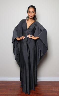 Grey Maxi Dress  Kaftan Kimono Butterfly Dress Elegant by Nuichan, $59.00