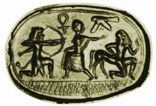 Cornelian scarab from Marion, Cyprus. Herakles rescues Deianeira from Nessos. The cross-hatched area below is Phoenician, as are the 'life sign' and falcon above.  Private Coll. 16mm. AGGems no. 72