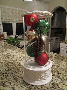 hurricane filled with left over Christmas balls & pine cones