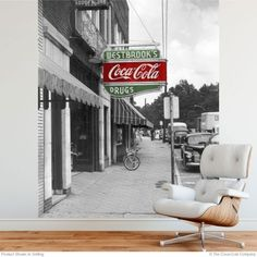 Coca-Cola Old Time Drug Store Wall Mural Decal is the perfect wall decor for an apartment or office. Applies and removes easily without harming walls. Shipped in sections for easier application. Available in 56 x 72, 67 x 84, and 77 x 96 inch sizes. Officially licensed and made in the USA. #retroplanet #walldecals #walldecor #kitchendecor #cocacola #vintagead #cocacolacollectibles #cocacoladecor #dorm #dormroom #officedecor #roomdecor #vintagecocacola #cocacolatruck #livingroom Coca Cola Decor, Wall Mural Decals, Retro Living Rooms, Wall Decor, Room Decor, Drug Store, Metal Panels, Panel Art, Metal Signs