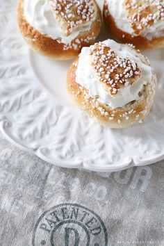 laskiaispulla, (sweet bread filled with whipped cream).