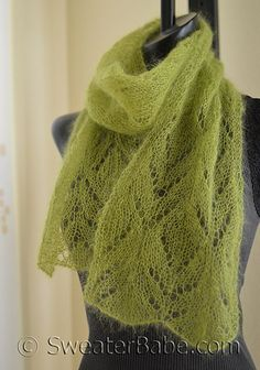 Chalice One-Ball Scarf. Knits up beautifully in kid mohair/silk yarn with a lace pattern that only uses basic decreases and yarn overs. Great stash buster and gift knit.