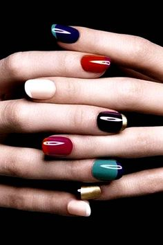 A rainbow of French Manicure variations | Colored French Manicures | French Manis with a Colorful Twist