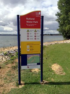 IRS Rutland Water signs, RNLI (Royal National Lifeboat Institution) shaped top signs with digital prints for faces.
