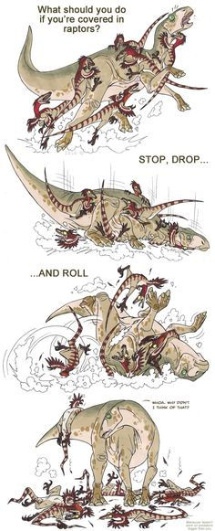 Raptors may not have been quite the pack-hunting murder-beasts they're made out to be. ( Dinosaur safety by IsisMasshiro ) Raptors may not have been quite the pack-hunting murder-beasts they're made out to be. ( Dinosaur safety by IsisMasshiro ) Dinosaur Funny, Dinosaur Art, Cute Comics, Funny Comics, Jurassic Park World, Dibujos Cute, Prehistoric Creatures, Prehistory, T Rex