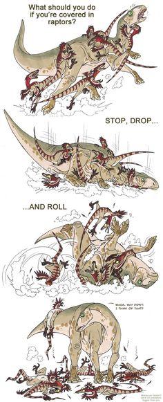 Como escapar de um ataque de raptores! http://isismasshiro.deviantart.com/