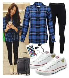 """""""Airplane Outfit."""" by queenboldon ❤ liked on Polyvore featuring Converse, Peace of Cloth, Equipment, Samsonite and Monster"""