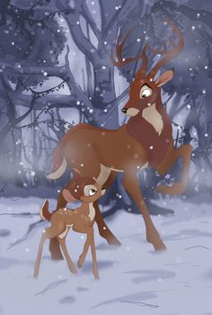 *BAMBI & HIS FATHER, The Great Prince of the Forest (Fred Shields) who takes care of his son after the mother is killed by hunters. Bambi Disney, Disney Pixar, Arte Disney, Disney Fan Art, Disney Cartoons, Disney And Dreamworks, Disney Love, Disney Magic, Bambi Art