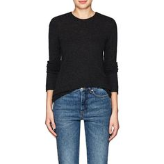 ATM Anthony Thomas Melillo Women's Cashmere Crewneck Sweater ($395) ❤ liked on Polyvore featuring tops, sweaters, dark grey, j.crew cashmere sweaters, cashmere top, crew neck tops, crew sweater and crew top
