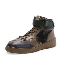 Rockstud Camo High-Top Sneaker, Army Green  by Valentino at Bergdorf Goodman.