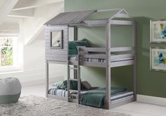 Reinvent your son or daughter's room with our stylish and fun house custom bunk beds in a stylish light grey finish. This loft bed is as sturdy as it is charming with quality all wood construction and