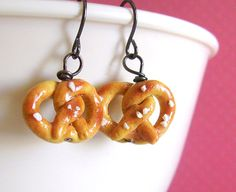 Mini Pretzel Earrings Fake Food Polymer Clay by EmsJewelry on Etsy, $10.00