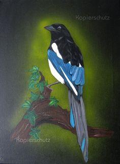 Elster/ magpie - Acryl Bild, Gemälde, Painting, Porträt, Unikat, Vogel