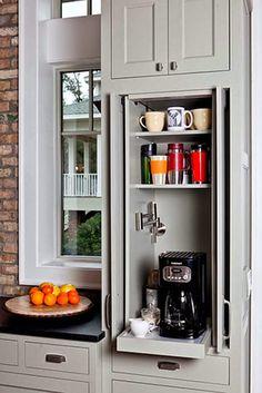Hide away appliances behind sliding doors.