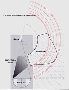 Developing a pattern for a cone with a pitch using radial line development Sheet Metal Drawing, Sheet Metal Work, Cone Template, Interesting Drawings, Sheet Metal Fabrication, Math Formulas, Lathe Projects, Barn Plans, Pattern Drafting