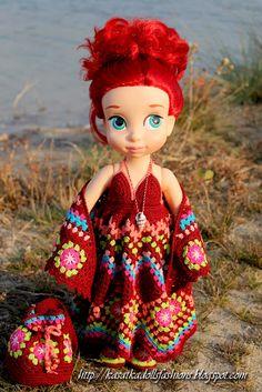 "KasatkaDollsFashions: Наряд для кукол Disney Animators по мотивам ""бабушкиного квадрата"""