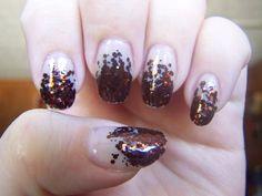 Bronze Glitter Gradient: Orly's So Go-Diva over Wet 'n Wild's 2% Milk