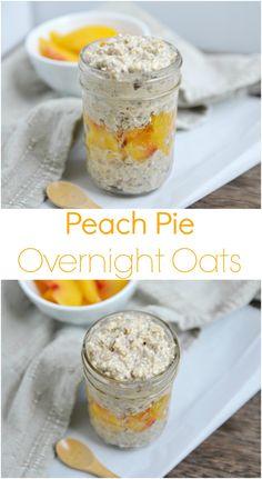 Peach Pie Overnight Oats - Haferflocken durch Hirseflocken, Buchweizenflocken, Reisflocken ersetzen