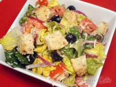 Olive Garden Salad includes copycat dressing recipe