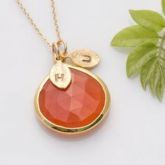 Mothers Day Gift  Personalized Necklace  Carnelian by delezhen, $64.00