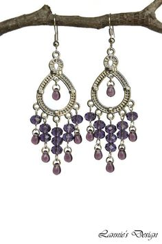 Purple Chandelier Earrings With Silver Charms Hooks Posts Clip Ons Lever Backs