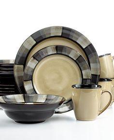 Gourmet Basics by Mikasa Horizon Grey 16-Pc. Set, Service for 4 - Dinnerware - Dining & Entertaining - Macy's