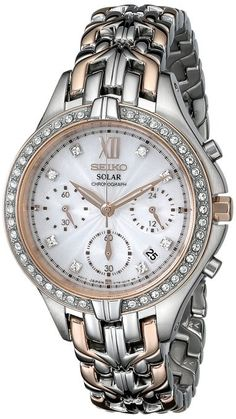 Seiko SSC874 Women's Solar Two-Tone Watch With Swarovski Crystals And Chronograph
