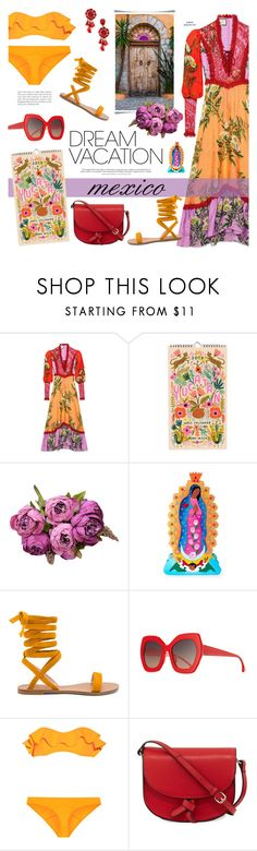 """Dream Vacation"" by mylkbar ❤ liked on Polyvore featuring Gucci, Hansen, NOVICA, Raye, Alice + Olivia, Lisa Marie Fernandez, KC Jagger, Ranjana Khan, contestentry and polyPresents"