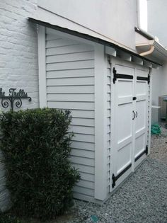 31 Wonderful Unique Small Storage Shed Ideas For Your Garden. If you are looking for Unique Small Storage Shed Ideas For Your Garden, You come to the right place. Below are the Unique Small Storage S. Pool Shed, Small Sheds, Bike Shed, Outdoor Sheds, Small Outdoor Shed, Outdoor Storage Sheds, Backyard Storage, Trash Can Storage Outdoor, Outside Storage Shed
