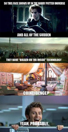 Thats what I said when I saw the tent! Its bigger on the inside and David Tennant is here...coincidence?