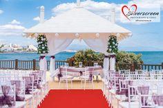 Sunset Beach Club Wedding Ceremony set up - new chairs with purple bows Sunset Beach Club, Sunset Beach Weddings, Destination Weddings, Wedding Set Up, Purple Wedding, Wedding Ideas, Ceremony Decorations, Wedding Decoration, Wedding Blessing