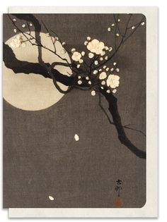 Flowering Plum and Moon by Ohara Koson.